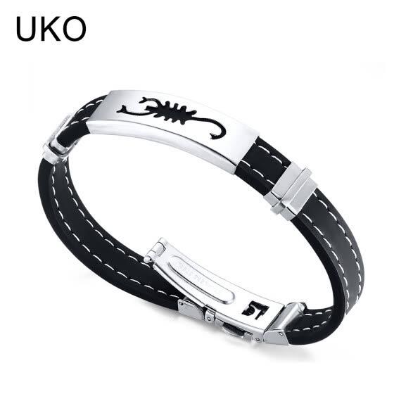 UKO Scorpio Cuff Bracelet Men Jewelry Stainless Steel Silicone Chain Souvenirs and gifts for Male 19cm