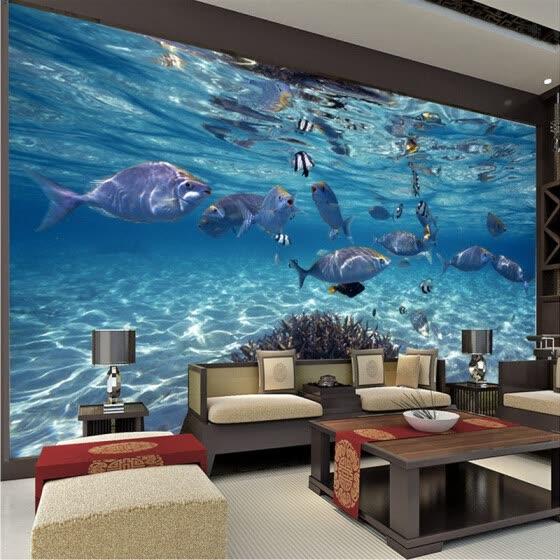 shop 3d wallpaper cartoon creative submarine world marine life mural