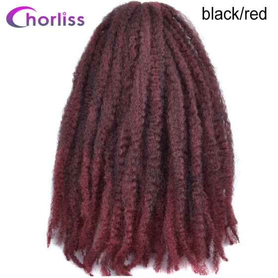 "Chorliss 18"" Ombre Synthetic Braiding Hair Extensions Afro Kinky Twist Braids Hair Bundles Crochet Braids 100g/pack Burgundy 1pc"