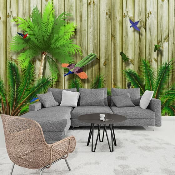 Custom Large Wall Painting Tropical Bird Forest Southeast Asia 3D Wood Board Wood Grain Wall Mural Wallpaper Living Room Sofa