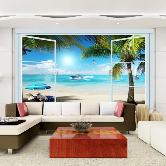 Custom 3D Photo Wallpaper Ocean View 3D Stereo Window TV Background Wall Mural Wall Painting Living Room Wallpaper Home Decor