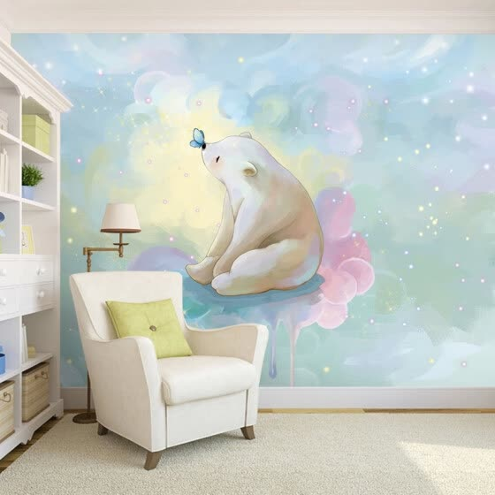 Shop Custom photo wallpaper Hand-painted cartoon dream bear ...
