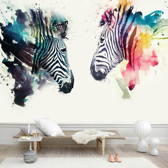 Modern Abstract Art Mural Wallpaper 3D Watercolor Zebra Wall Painting Kid's Bedroom Cafe Restaurant Background Wall Papers Decor