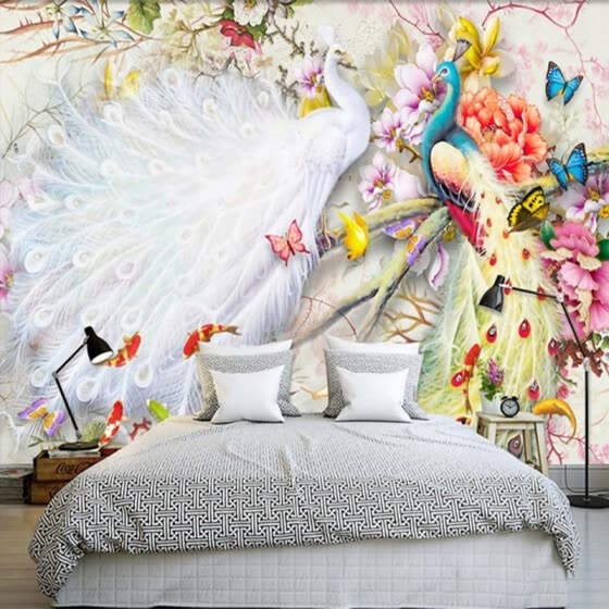 Chinese Style Watercolor Pea Peony Wall Murals Wallpaper Living Room Bedroom Backdrop Home Decor