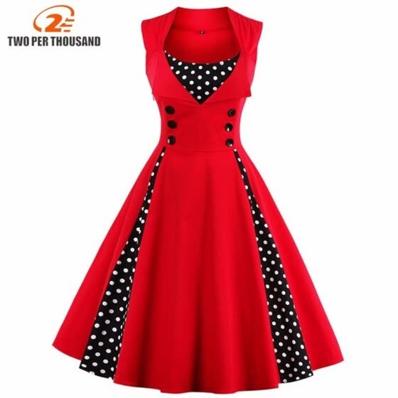 0dc6678c40 S-5XL Women Robe Pin Up Dress Retro 2018 Vintage 50s 60s Rockabilly Dot  Swing