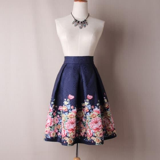 d997fce391561 Shop BACHASH 2018 Summer Women Skirt Vintage Peach Blossom Floral ...