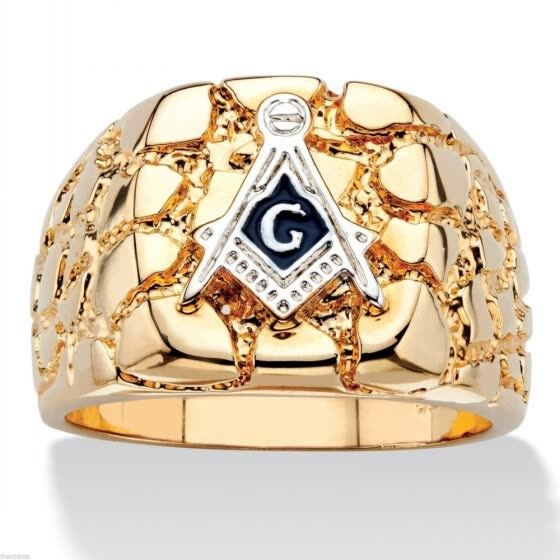 Hot Selling  Personality Fashion 18k gold Plated Masonic Memorial religious Party ring( Size:8 9 10 11 12 13 14 15)