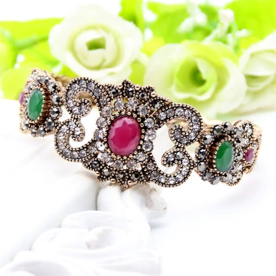 Exquisite Turkish Resin Flower Folding Bracelet Bangle Adjustable Women Vintage Bangle Antique Gold Color Wedding Jewelry Cuff