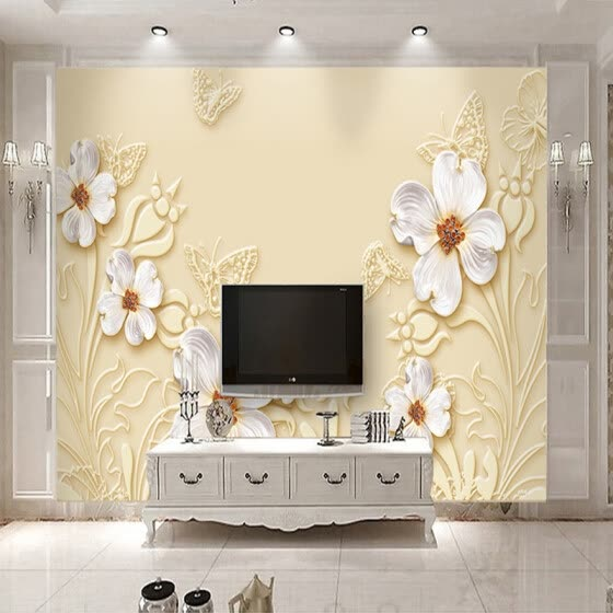 Custom Photo Wallpaper Living Room 3D Relief White Flowers Art Mural Modern Jewelry TV Background Wall Decoration Painting Paper