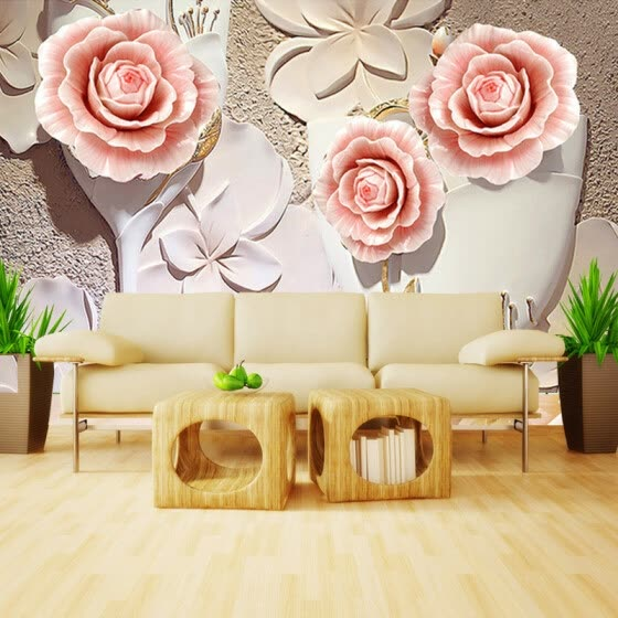 Custom Photo Wallpaper Modern Minimalist 3D Embossed Rose Flower Living Room TV Background Wall Art Mural Paintings Wallpaper
