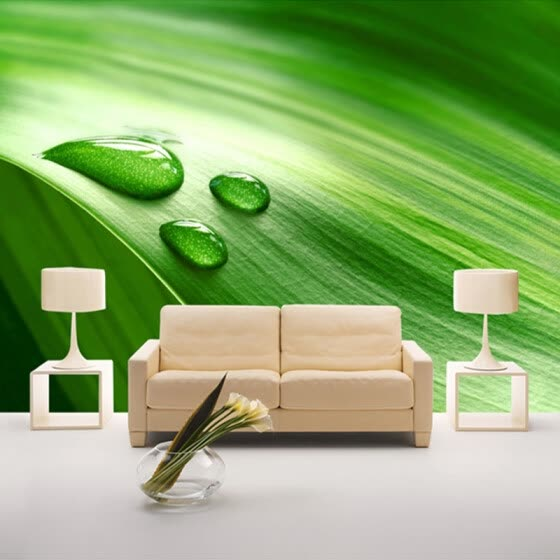 Custom Wall Mural Wallpaper 3D Green Leaf Water Drops Bedroom Living Room Sofa Backdrop Wall Painting Wall Papers Home Decor