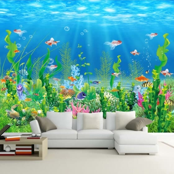 Shop Cartoon Seabed Fish Seaweed Wall Mural Custom Kids ...