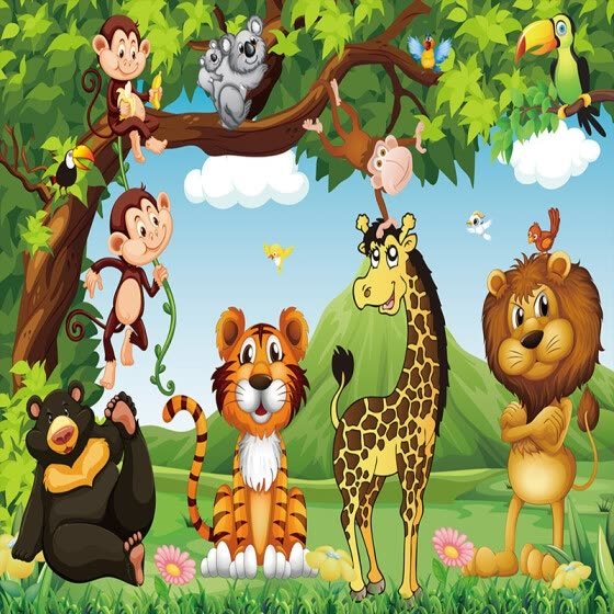 Shop Custom Mural Wallpaper 3d Cartoon Animal World Children Kids