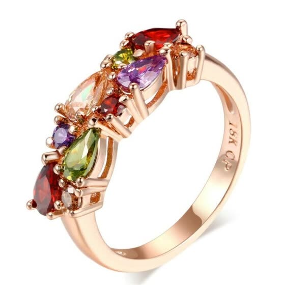 Colored Stone Rose Gold Plated Cubic Zircon CZ Diamond Crystal Engagement Ring Jewelry For Women Wedding Accessories R484