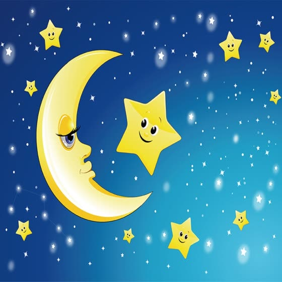 Custom 3D Mural Wall Paper Cute Cartoon Moon and the Stars Photo Wallpaper For Kids Room Bedroom Living Room Home Decor Painting