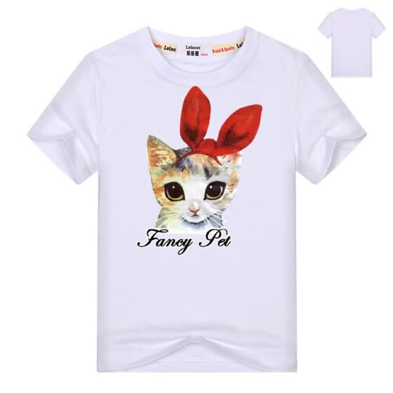 b16965523 Girls Animal Cartoon t shirts Kids Cute cat cotton short sleeve summer tops  children clothes boys
