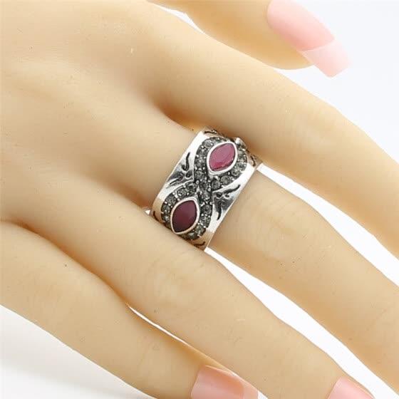 Antique Wide Silver Color Finger Rings