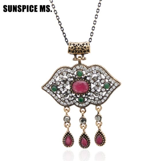 Gorgeous Brand Turkish Design Flower Necklaces Thin Chain Red Resin Acrylic Pendants Vintage Party India Women Wedding Jewelry