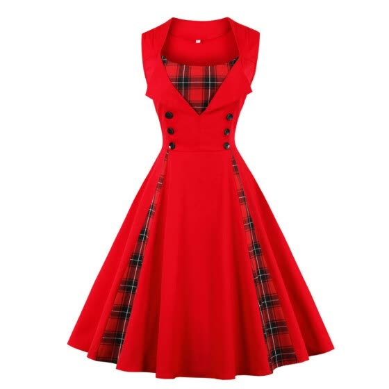 73ff37d5d1 S-4XL Women Robe Pin Up Dress Retro 2018 Vintage 50s 60s Rockabilly Plaid  Swing