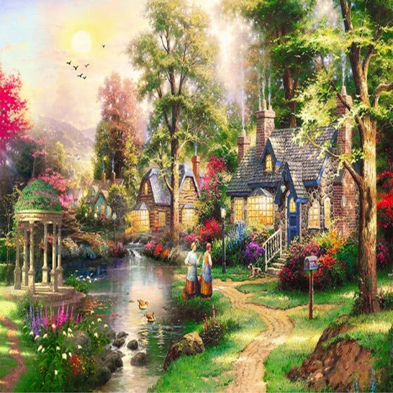 Custom 3D Wall Murals Wallpaper European Style Oil Painting Landscape Hand Painted Living Room TV Wall