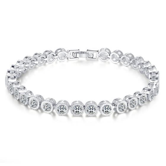 Women Wonderful Swarovski Element Round-Cut Cubic Zirconia Tennis Bracelet 7.48""
