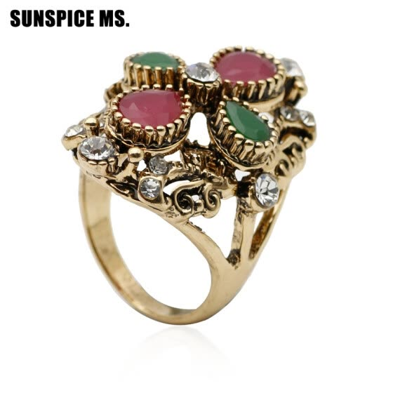 be5e1bf0680a1 Shop Hot Sale Vintage Ring For Women Turkish Resin Jewelry Antique ...