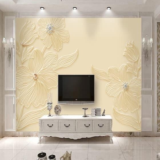 Shop Custom Mural Wallpaper High Quality Diamond Flower Pattern 3d