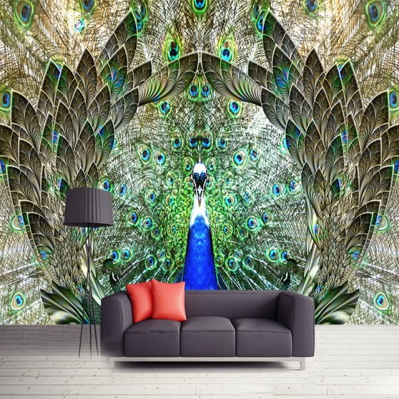Shop Custom Photo Wall Paper Rolls Peacock Open Screen 3d Large