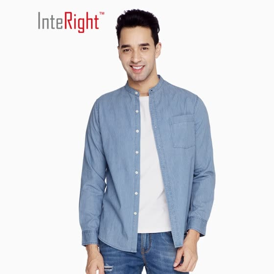 3a530a6f7e INTERIGHT casual shirt male oxford stand collar denim long sleeve shirt  light blue XL