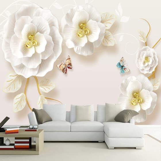 Shop Custom Photo Wallpaper Murals 3d Embossed Rose Living Room Tv