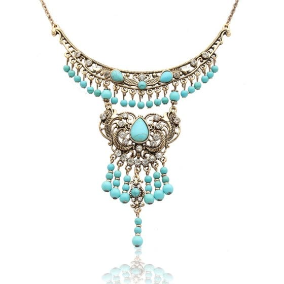 Vintage Women Long Flower Necklace Antique Color Turkish Bridal Indian Wedding Ethnic Jewelry Tassels Bead Necklace Egypt Bijoux
