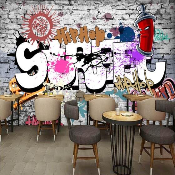 Shop Custom 3d Wall Murals Wallpaper Creative Art Retro Street Graffiti Bar Restaurant Background Decor Large Wall Painting Wallpaper Online From Best Wall Stickers Murals On Jd Com Global Site Joybuy Com