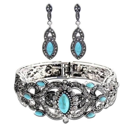 Shop Ethnic Turkish Women Green Stone Earrings Bangle Cuff