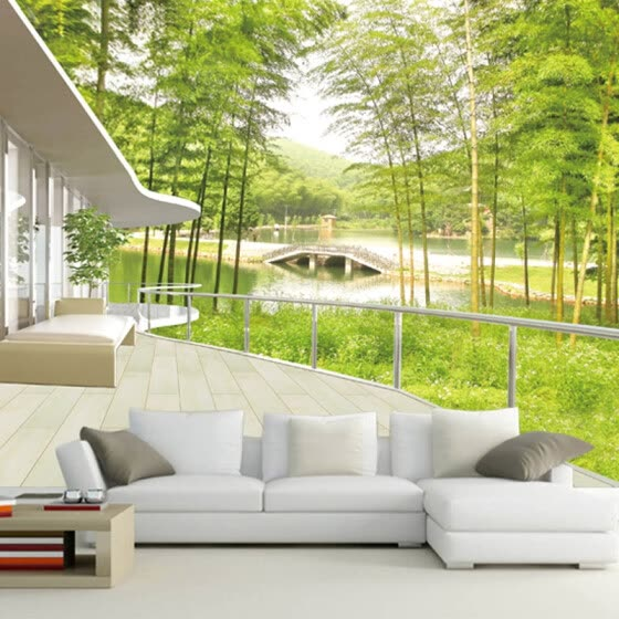 Custom Photo Wallpaper Window Views Bamboo Forest Lake Bridge Chinese Wall Paper Natural Mural Living Room Landscape Home Decor