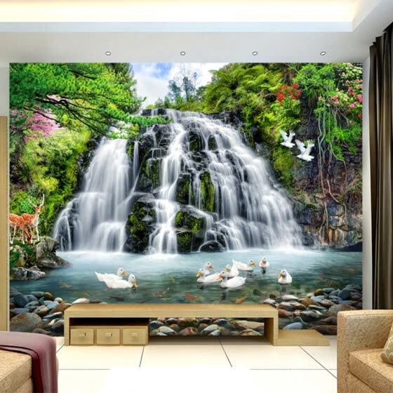 Custom 3D Mural Wallpaper For Wall Beautiful Nature Landscape Photo Waterfall Ducks Wall Paper For Room Decor TV Sofa Backdrop