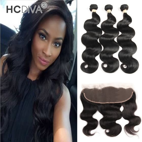 HCDIVA Mongolian Virgin Hair Body Wave 13*4 inch Lace Frontal with 3 Bundles Human Hair Weaving Good Quality Mongolian Body Wavy