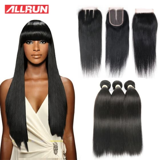 Allrun Brazilian Virgin Hair Straight With Closure Human Hair 3 Bundles With Closure 4pcs/Lot Natural Color