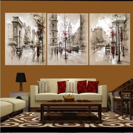 3 Panels Canvas Painting Modern On