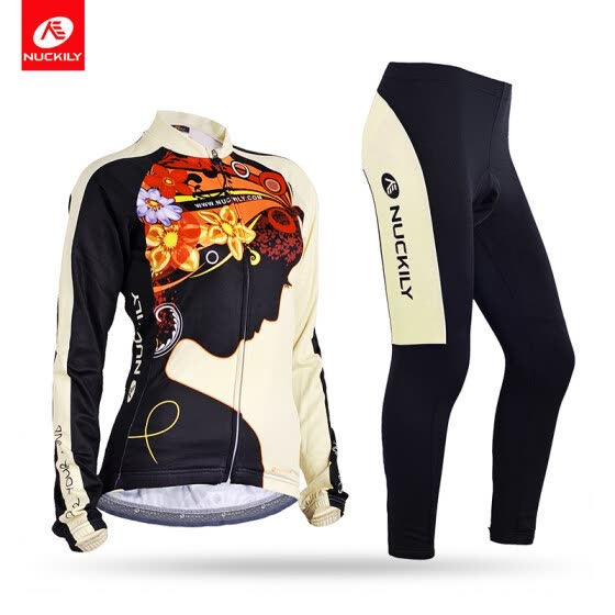 NUCKILY Women's Customized Cycling Apperal Long Sleeve Jersey And Foam Pad Bike Pants Suit For Spring/AutumnGC002GD002