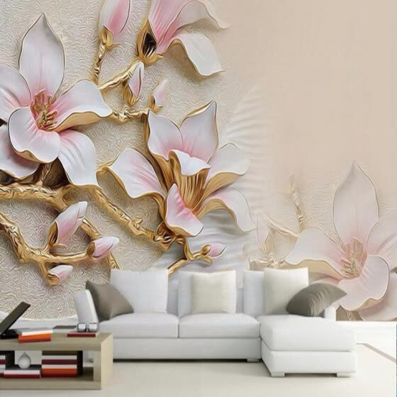 Shop 3d Wallpaper Hd Embossed Magnolia Flowers Photo Mural Living