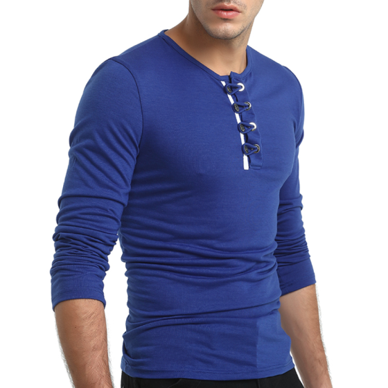 2018 New Men's Fashion Long Sleeved Shirts Cotton Slim Fit Solid Color Round Neck Casual T-shirts Tops