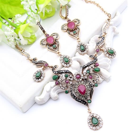Vintage Women Flower Antique Gold Color Jewelry Sets Turkish Resin Jewelry Drop Earrings Necklace Arabia Bridal Wedding Jewelry