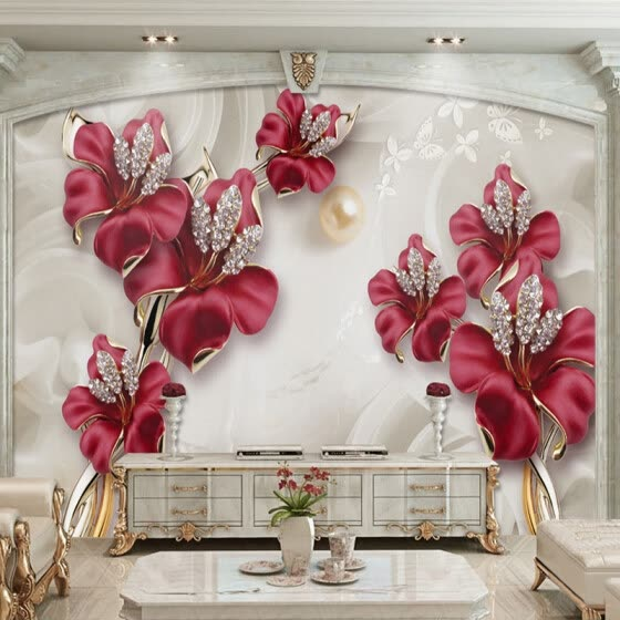 Shop Custom Mural Wallpaper 3d Stereo Relief Flowers Jewelry Photo