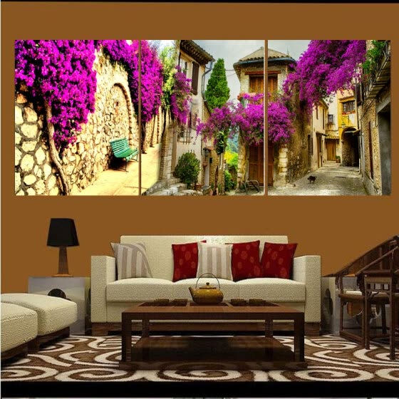 Canvas Painting Pictures Modular Decorative On The Wall For Living Room Art Sofa Backdrop Modern Pictures Landscape 40X50cmX3pcs