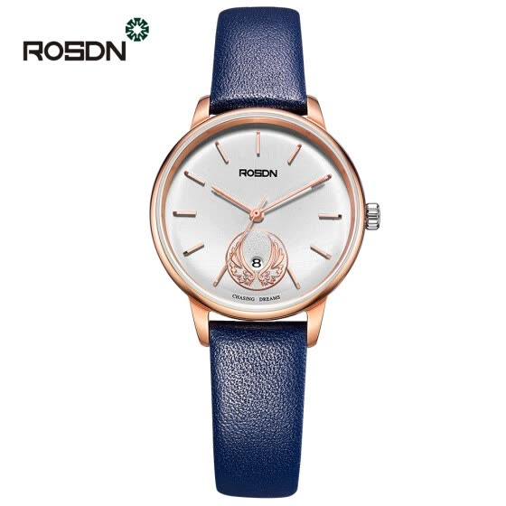 Luxury Brand ROSDN Quartz Watches women Elegant  Rose Gold Watch with Simple Dial Calfskin Leather Strap Watches for Women
