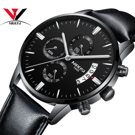 Relogio Masculino 2018 New Quartz Wristwatch Brand  Fashion Men Watch Leather Strap Chronograph watches Waterproof Erkek Kol Saati