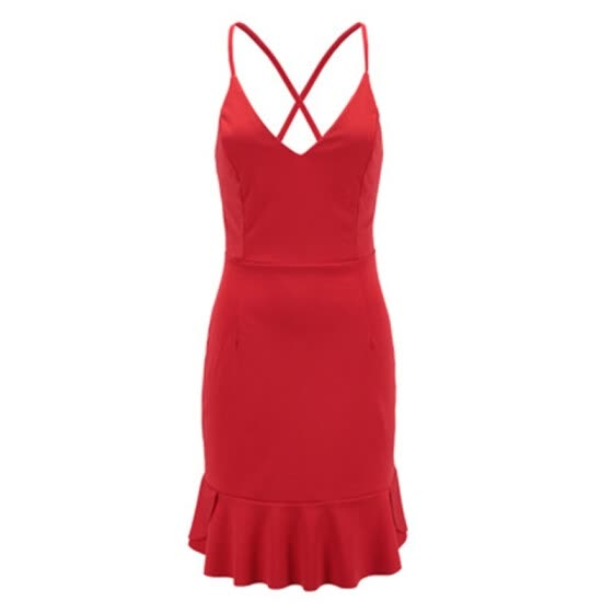 Try Everything Women Backelss Summer Dress 2018 Cotton Red Sexy Spaghetti Strap Bandage Dresses 2018 New Arrivals With Ruffles