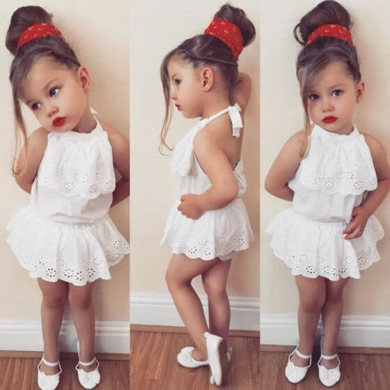 794e31d7a34f Newborn Baby Girls Lace Sleeveless Top Shorts Skirts Outfits Set Clothes  Summer