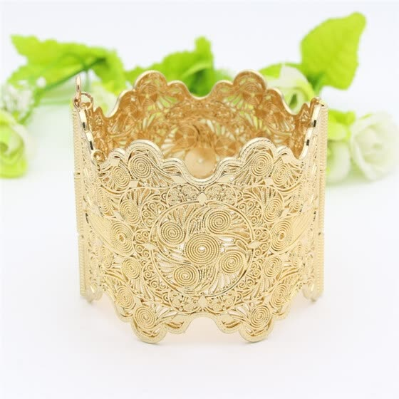 Vintage Arab Women Bracelet Armlet Wave Edge Plus Size Bangle Open Type Hollow Flower Gold Color Cuff Bangles Dance Jewelry
