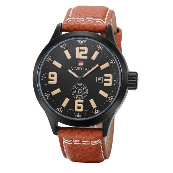 Naviforce Men's Quartz Wrist Watch Waterproof Leather Strap Brown
